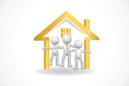 Logo real estate house and 3D small people teamwork icon vector image design