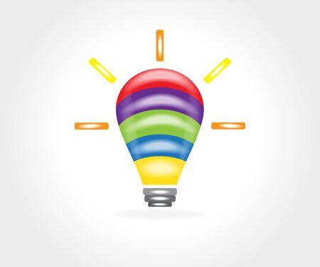 Bulb light logo. Creative idea symbol vector design watercolor image