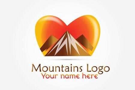Logo mountains love heart icon logotype vector Vectores
