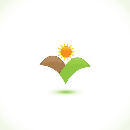 Logo mountains sun people icon logotype vector