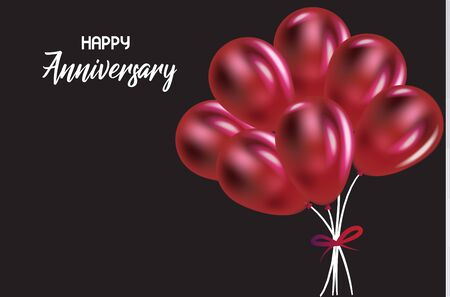 Happy anniversary with red balloons greetings card vector image Vettoriali