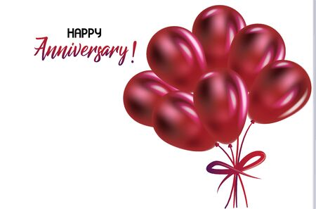 Happy valentines anniversary with red balloons greetings card vector image Vettoriali