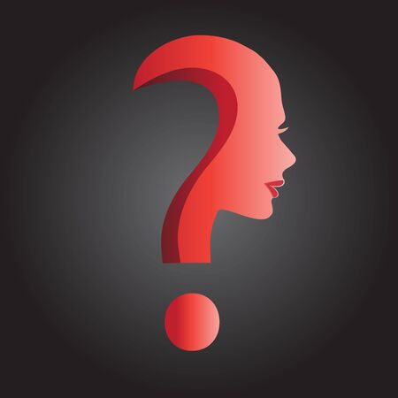 Woman question mark logo 3D graphic image web design vector