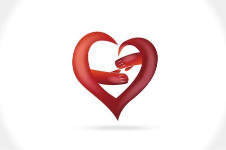 Logo handshake love heart shape connecting people icon vector web image graphic design