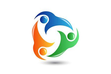 Logo teamwork partners business people concept of unity vector image design Foto de archivo - 150356214