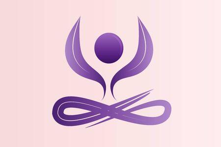 Yoga man lotus flower logo clip art vector image graphic design purple color identity id card business template Illusztráció