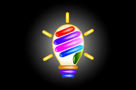 Light bulb hand logo. Creative idea symbol vector design watercolor image