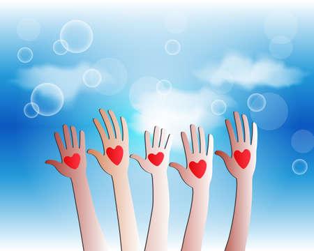 Hands love heart logo vector web image template graphic design illustration