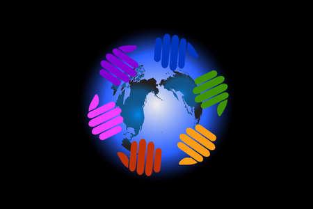 Logo hands around world teamwork working for a best world