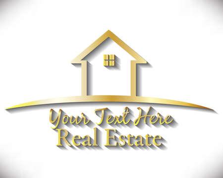 Logo golden house real estate icon vector image design template