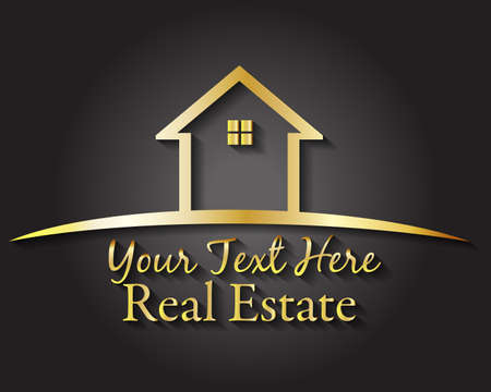 Gold house real estate logo vector image design template on black background logotype id card business