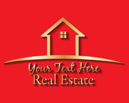 Gold house real estate logo vector image design red template background Illustration