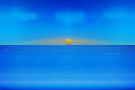 Sunrise sea ocean waves with blue sky sunny summer tropical beach paradise vector image design