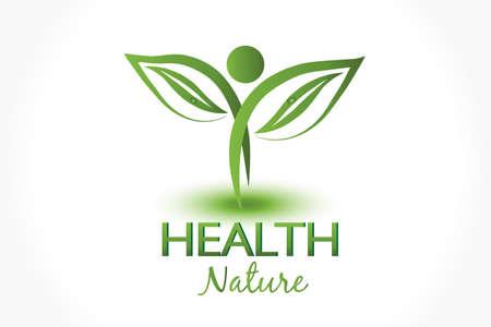 Logo health nature ecology leaf people figure plant symbol icon vector design Illustration