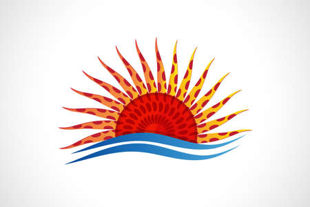 Logo sun and waves beach abstract sunflower shape icon vector web image graphic design