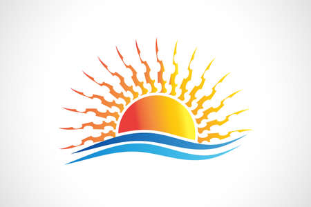 Logo sun and waves beach abstract icon vector web image graphic design