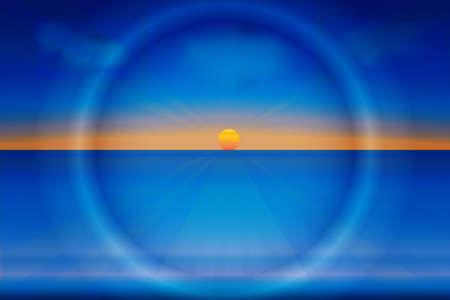 Sun and waves sea ocean beach tropical summer logo vector image design template background Illustration