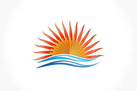 Logo sun and waves beach ocean sea tropical weather sunset abstract icon vector web image graphic design