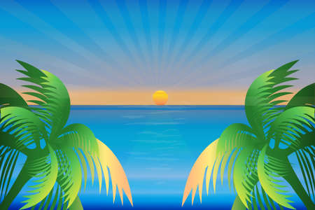 Sunset sea ocean season blue sky sunny summer tropical weather beach paradise water view with green palm trees vector image design background render banner template Illustration