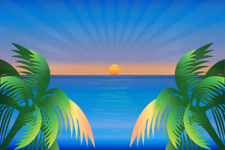 Sunset sea ocean season blue sky sunny summer tropical weather beach paradise water view with green palm trees copy space vector image design background render banner template