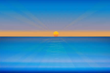 Sunset beach ocean sea tropical weather paradise seaside perfect water view coast abstract vector web image graphic design background copy space template illustration