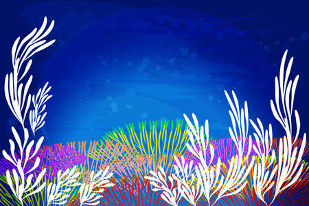 Colorful aquarium coral reef algae aquatic marine life plants in ocean water painted artwork vector picture image banner background template