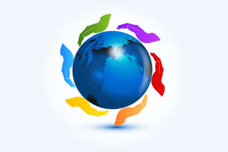 Logo hands around blue map world colorful teamwork working for a best world volunteer friendship global international people charity concepts logotype vector image graphic illustration Illustration