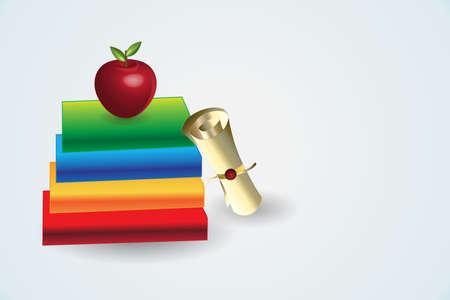 Books education symbol graduation certificate gold award with red apple icon vector symbol logo design Illustration