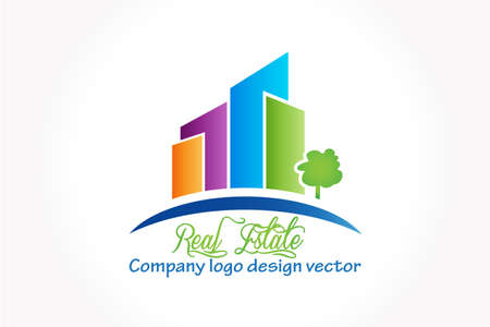 Real estate modern buildings apartments colorful house logo business id card vector icon web image graphic design Illustration