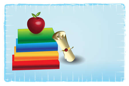 Graduation books and certificate award red apple education concept vector icon vector symbol logo design illustration background template