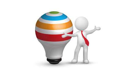 Logo 3D white man with a light bulb idea icon. Creative idea symbol vector design watercolor image