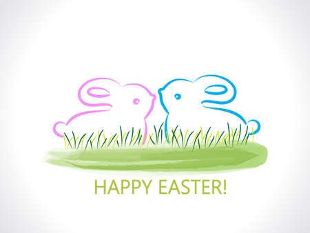 Happy Easter greetings card with rabbits watercolor green grass background logo vector image design