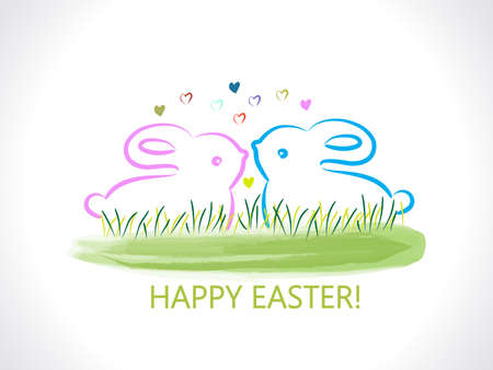 Happy Easter greetings card with rabbits watercolor grass background vector image design