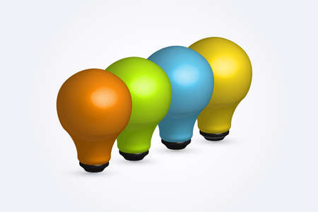 Logo light bulb in a row idea icon concept. Creative idea symbol vector design colorful image