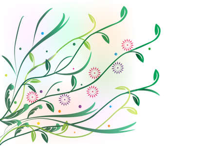 Flowers Greetings Card Green Leaves Blossom Flourish Banner Vector Image Background Template