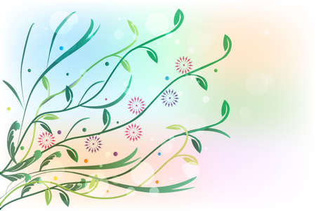 Flowers Greetings Card Banner Vector Image Background Template