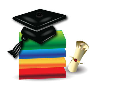 Title Graduation card books diploma and hat vector image  design