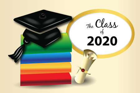 Title Graduation card books diploma and hat logo vector image design for the class of 2020