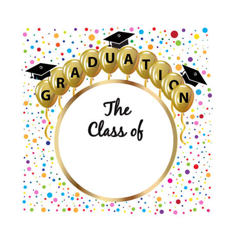 Graduation hats gold balloons and confetti party celebration greetings card symbol educational icon text word with The class of.  Vector logo image design template