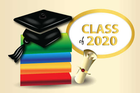 Graduation books and hat education symbol word text the class of 2020 logo vector image Illustration