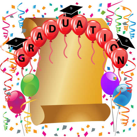 Graduation hats red balloons gold award paper parchment and confetti party celebration symbol educational icon vector logo image design background template Illustration