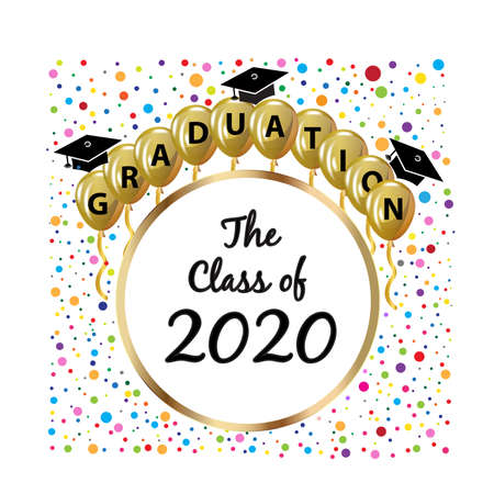 Graduation hats gold balloons and confetti party celebration symbol educational icon. The class of 2020 text word vector image design template