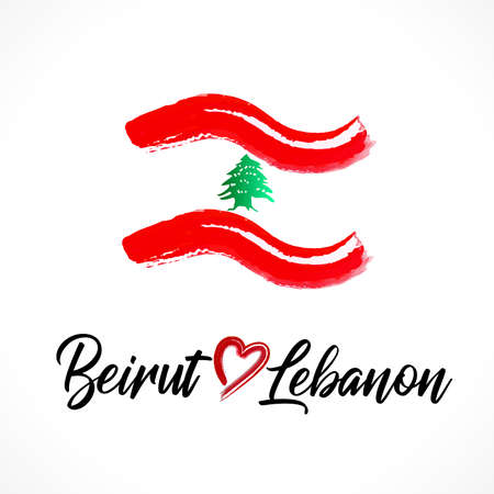 Beirut Lebanon set collection of flags sign with text words icon logo vector image red color background Illustration