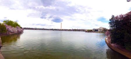 Cherry blossom festival Washington monument Obelisk West Potomac Park, Washington D.C. April 2019, Panoramic view photo Stock Photo