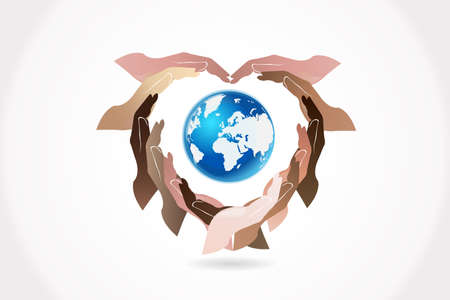 Hands holding a global world map concept of care the planet logo vector web image template graphic design illustration