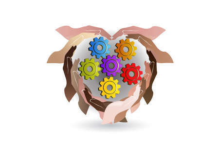 Hands holding industrial gears love heart logo vector web image template graphic design illustration