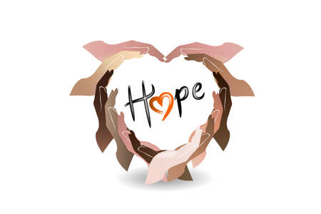 Hands love heart shape with a hope text word logo vector web image template graphic design illustration Illustration