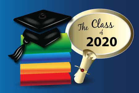 Graduation books and hat education symbol the class of 2020 logo vector image blue gold background template Illustration