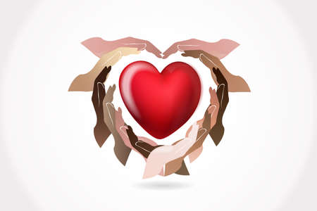 Hands around a healthy love heart logo vector web image template graphic design illustration Illustration