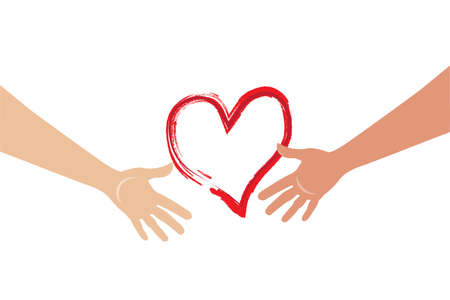 Hands holding a love heart valentines symbol logo vector web image
